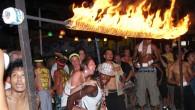 Limbo Feuer Tanz auf der Full Moon Party